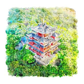 Pavilhão chenghuang china esboço em aquarela desenhado à mão