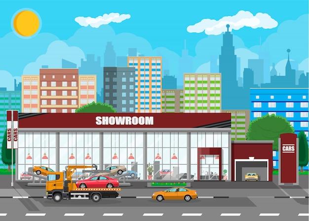 Pavilhão de exposições, concessionária de carros
