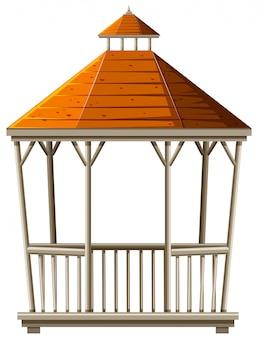 Pavilhão de madeira com telhado laranja