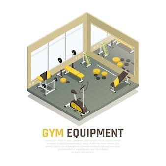 Pavilhão desportivo com equipamento de exercício amarelo preto e espelho na composição isométrica de parede