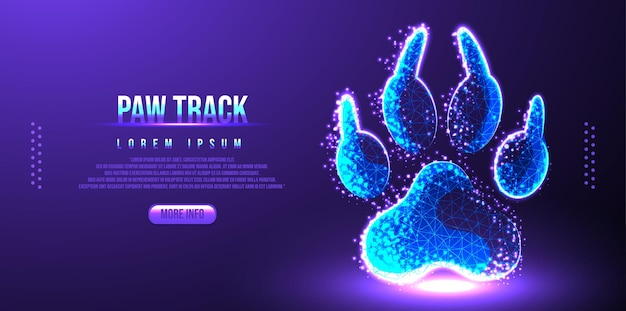 Paw track low poly wireframe