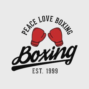 Paz amor boxe tipografia vintage boxe camiseta design luvas ilustração