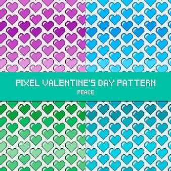 Paz de padrão de dia dos namorados de pixel