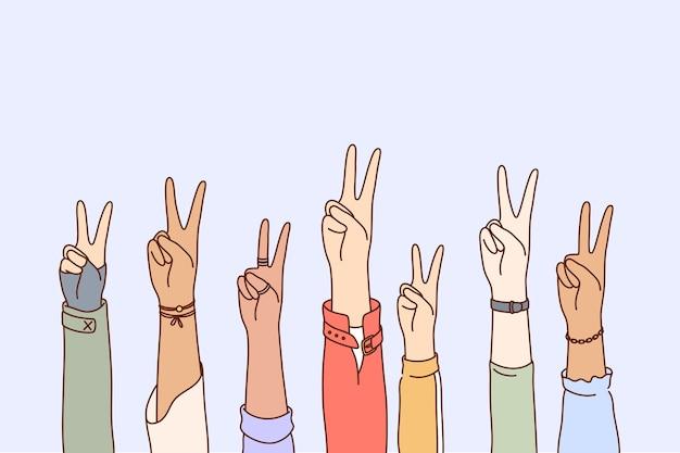Paz, protesto, pacifismo, conjunto de conceitos de multietnicidade.