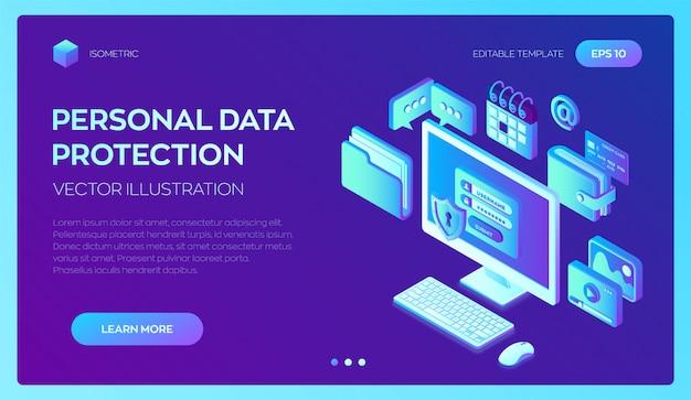 Pc de mesa com formulário de autorização na tela, proteção de dados pessoais. proteção de dados. 3d isométrico.