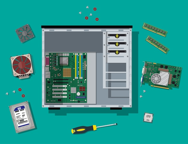 Pc de montagem. hardware de computador pessoal.