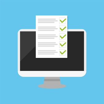 Pc e caixas de seleção com marca de seleção design plano de pesquisa de escolha para sites de banners vector