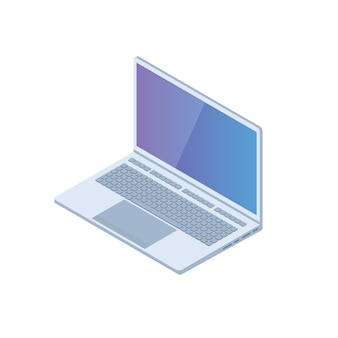 Pc isométrico, laptop, ícone de notebook. ilustração em vetor em estilo simples.