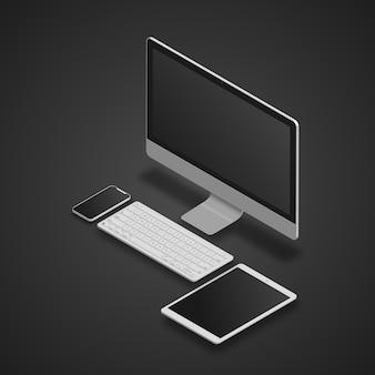 Pc, tablet e smartphone conjunto realista.