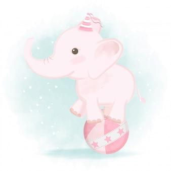 Pé de elefante bebê na ilustração de carnaval de bola