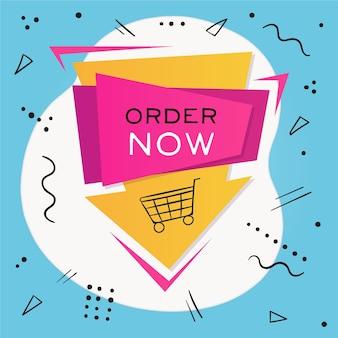 Peça agora banner promocional com carrinho de compras ilustrado