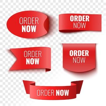 Peça agora banners de venda etiquetas e adesivos de fitas vermelhas ilustração vetorial