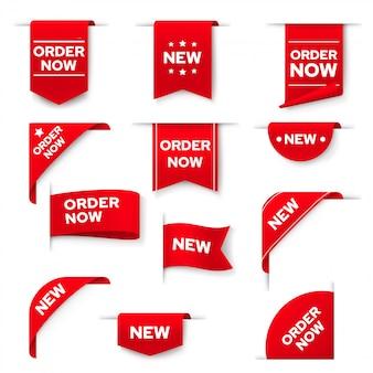 Peça agora banners vermelhos, conjunto de elementos da web