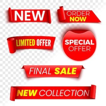 Peça agora, oferta especial, nova coleção e banners de venda final. fitas vermelhas, etiquetas e adesivos.