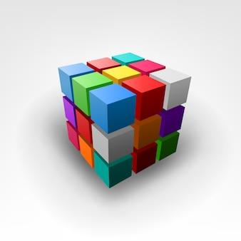 Peça colorida de ilustração vetorial de cubo