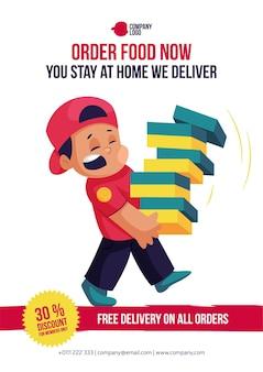 Peça comida agora você fica em casa nós entregamos entrega gratuita em todos os pedidos flyer design