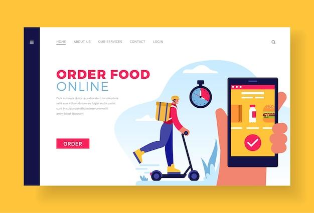 Peça comida online modelo de site da página de destino
