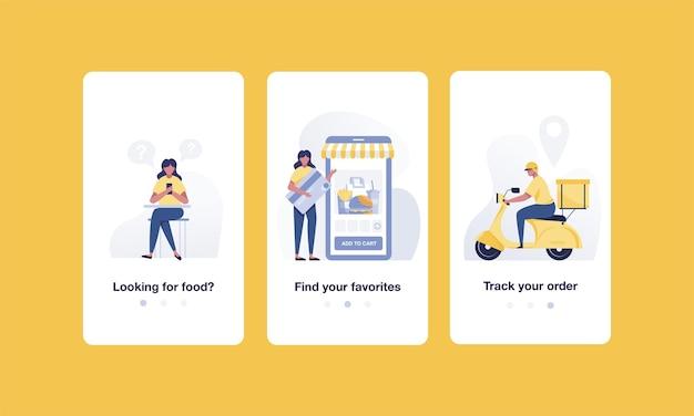 Peça comida online onboarding telas de aplicativos móveis, design de modelo de banner. ilustração vetorial