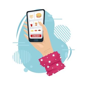 Peça comida para casa no aplicativo móvel. entrega de comida em sua casa.