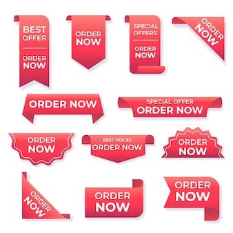 Peça criativa agora coleção de adesivos