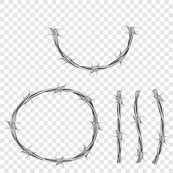 Peça de arame farpado em aço metálico com espinhos ou pontas
