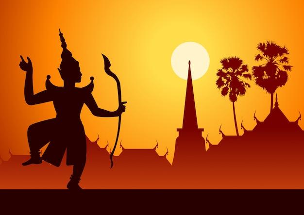 Peça de literatura tailandesa antiga de ramaya chamada pantomine rama ou vishnu atirando flecha