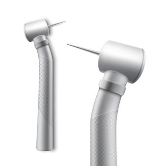 Peça de mão odontológica de vetor inoxidável para perfuração e retificação vista lateral isolada no fundo branco