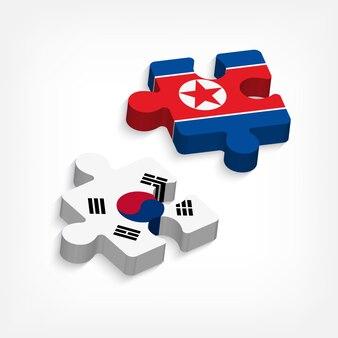 Peça de quebra-cabeça da coreia do sul e coreia do norte