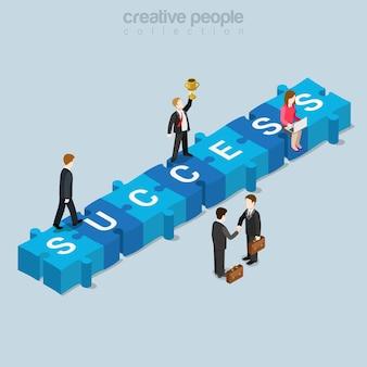 Peça de quebra-cabeça de sucesso plana isométrica empresarial