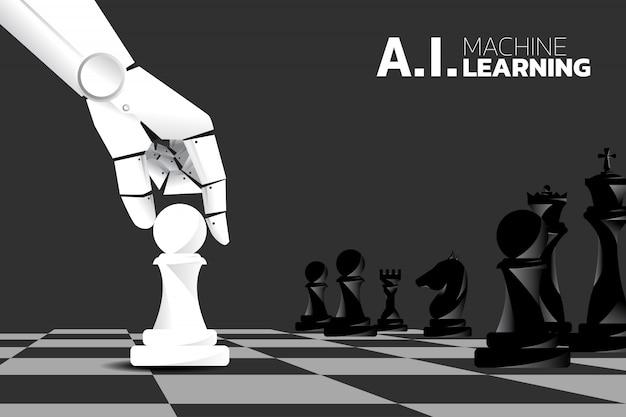 Peça de xadrez do movimento da mão do robô a bordo do jogo. aprendizado de máquina