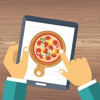 Peça pizza na linha
