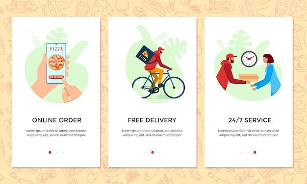 Peça um conjunto de banner de aplicativo móvel online de comida. escolhe pizza no modelo de tela do smartphone. entrega expressa de bicicletas grátis do conceito de serviço de pizzaria. ilustração do vetor de envio de bicicletas de produtos