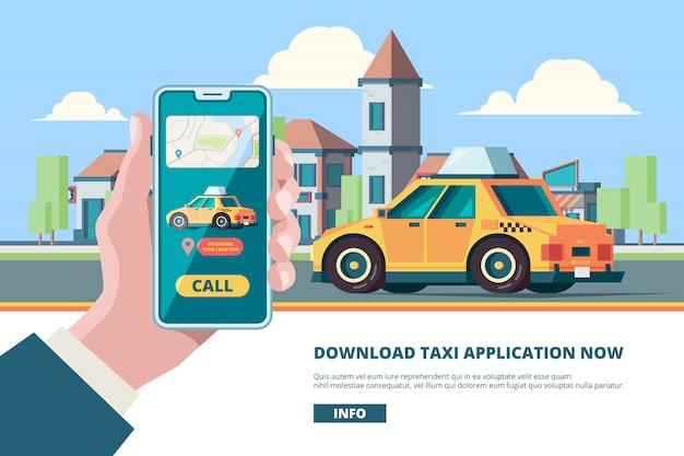 Peça um táxi. smartphone na mão on-line imprensa ordem botão mobilidade urbana táxi perto de imagens do conceito de edifícios Vetor Premium