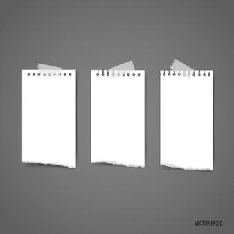Peças brancas de recolha de papel