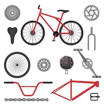 Peças da bicicleta esporte off-road bmx usada para corridas e acrobacias. ilustração vetorial de detalhes para veículo de motocross