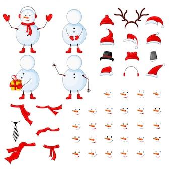 Peças de corpo de bonecos de neve, transformador em um fundo branco isolado