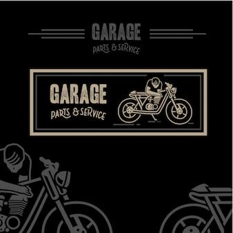 Peças de garagem e fundo da etiqueta de serviço