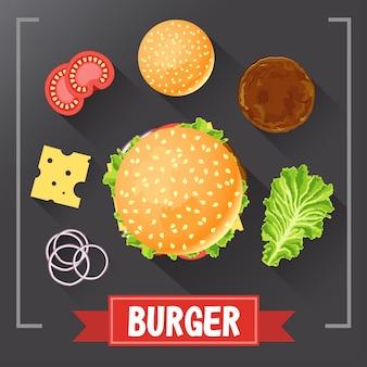 Peças de ingredientes de hambúrguer na lousa. vetor