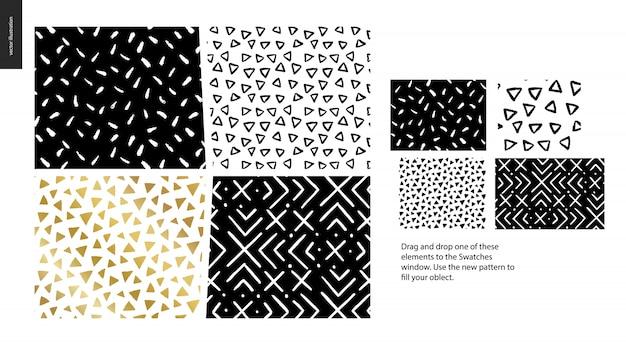 Peças de mão desenhada padrões