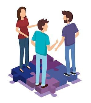 Peças de quebra-cabeça com pessoas de equipe isométrica