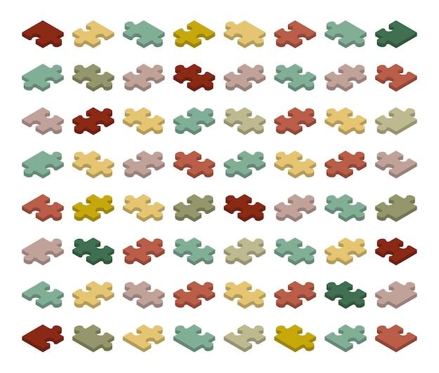 Peças de quebra-cabeça isométrica