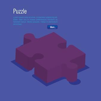 Peças de quebra-cabeça isometrics icons vector illustration design