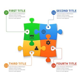 Peças de quebra-cabeça vector infográfico conceito de negócio
