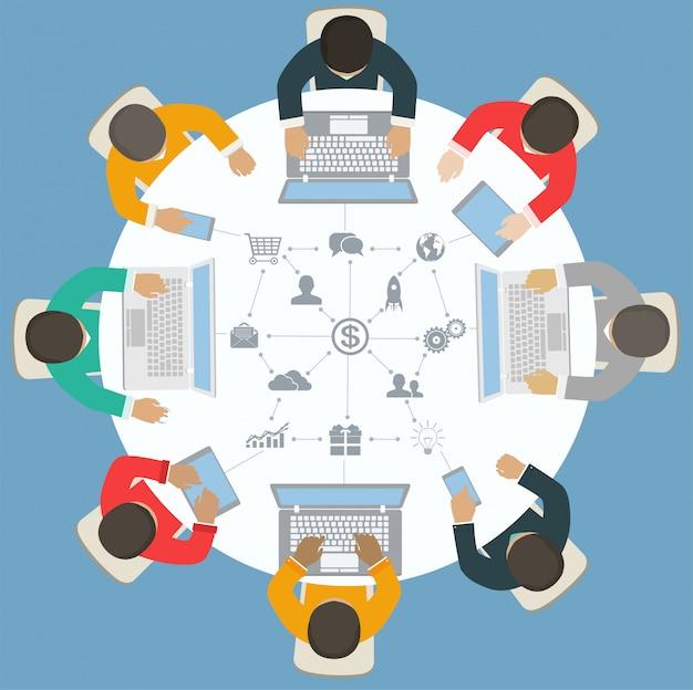 Peças de quebra-cabeças de papel com ícones. conceito de negócios, interface de modelo, layout,