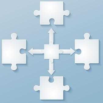Peças de quebra-cabeças de papel com setas. elementos de design, modelo, folheto