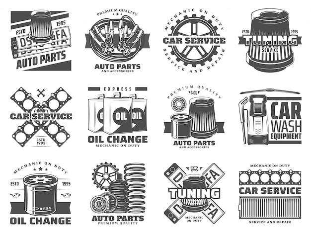 Peças de reposição para serviços automotivos, ajuste automático e óleo de motor
