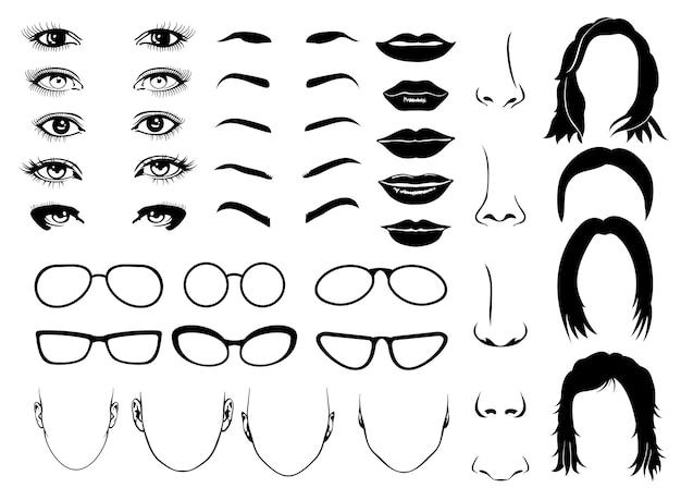 Peças de rosto de mulher, olhos, óculos, lábios e cabelo. elementos femininos de vetor para illus de retrato de construtor
