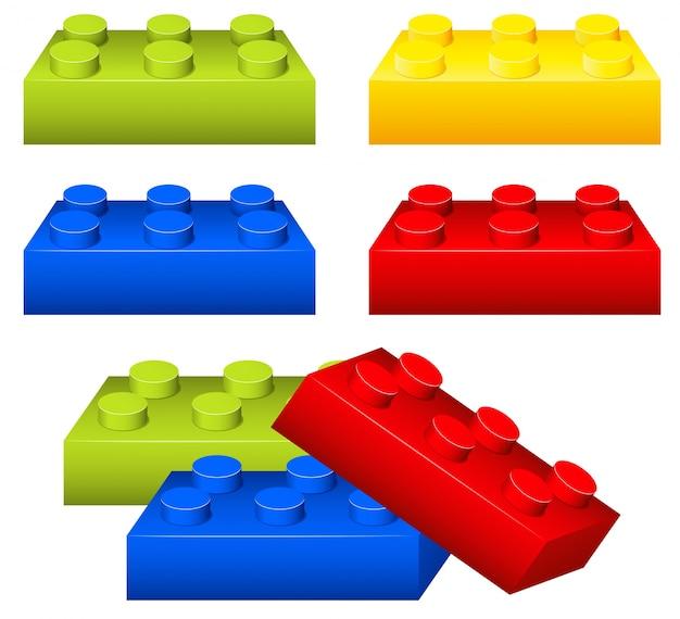 Peças de tijolos de brinquedo em muitas cores
