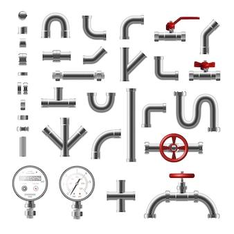 Peças de tubulação e tubos de aço de forma realista conjunto diferente isolado na ilustração de fundo branco