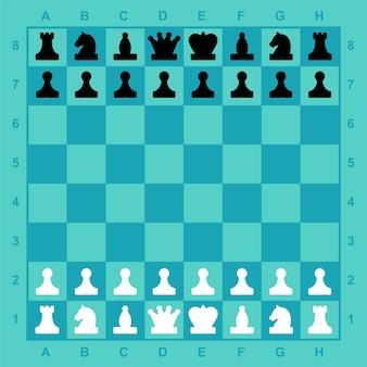 Peças de xadrez no tabuleiro conjunto completo pronto para o aplicativo móvel do jogo